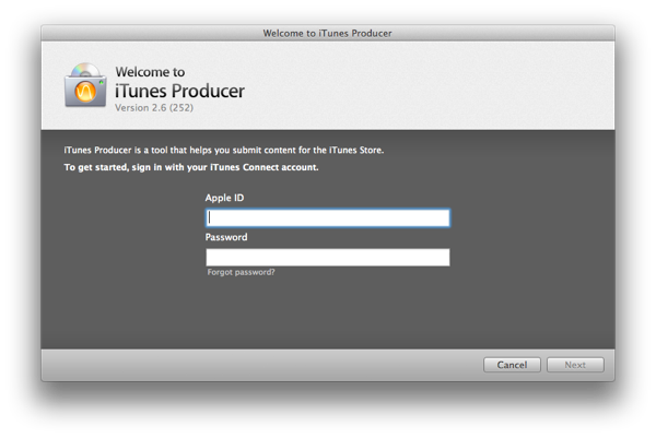 iTunes Producer Login